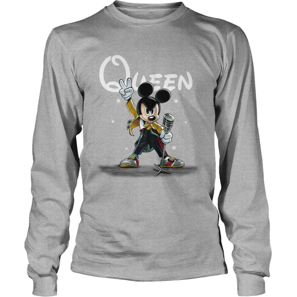 Freddie Mercury Queen Mickey mouse shirt unisex longsleeve tee