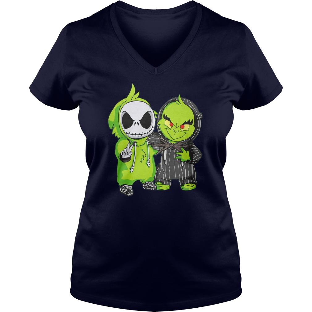 Grinch and Jack Skellington shirt lady v-neck