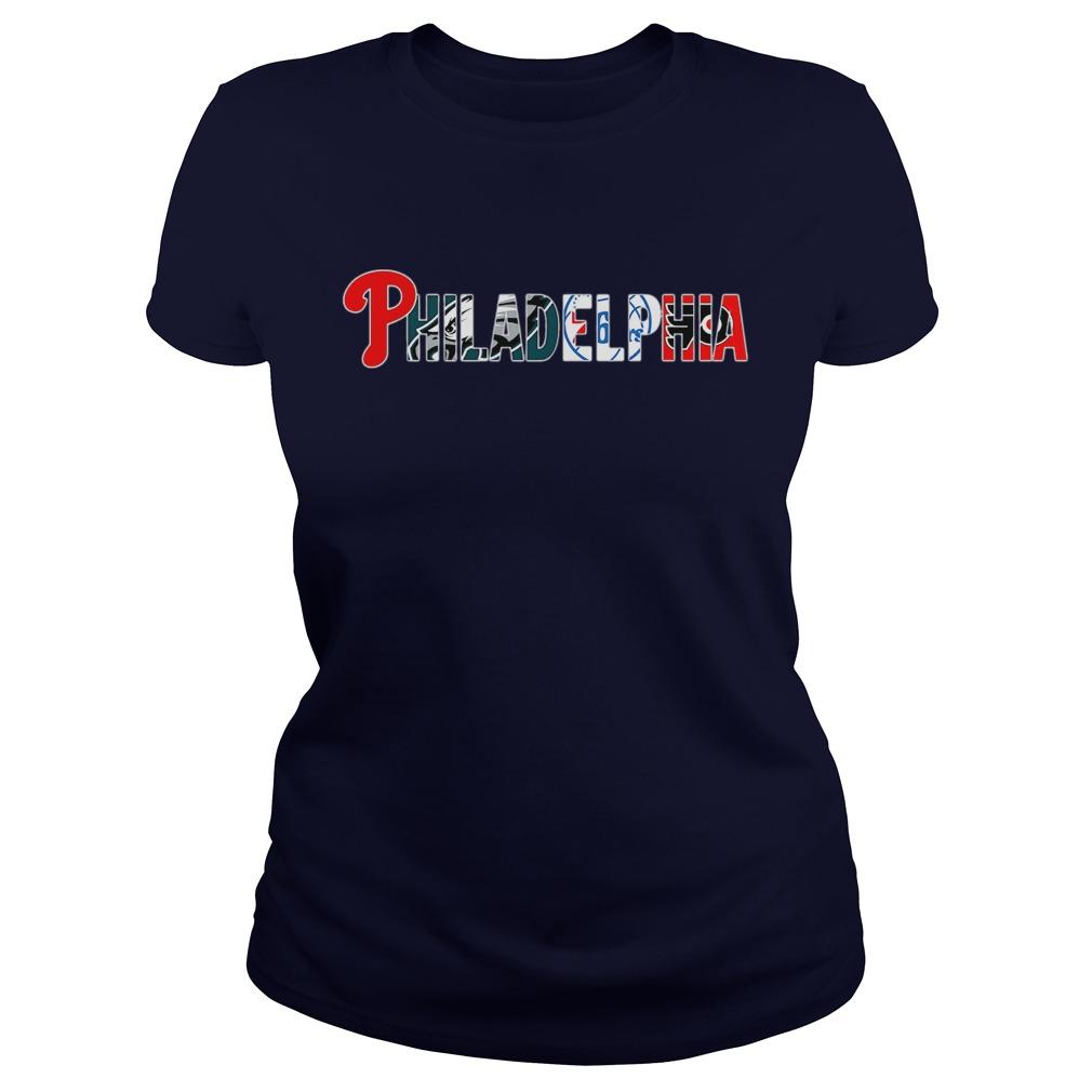 Philadelphia Sports Teams Logos shirt lady tee