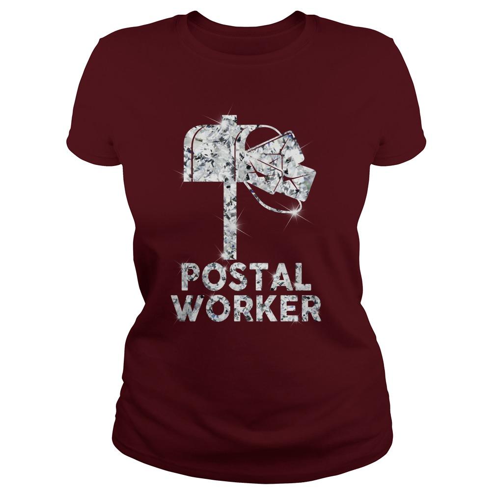 Postal worker diamond glitter shirt lady tee