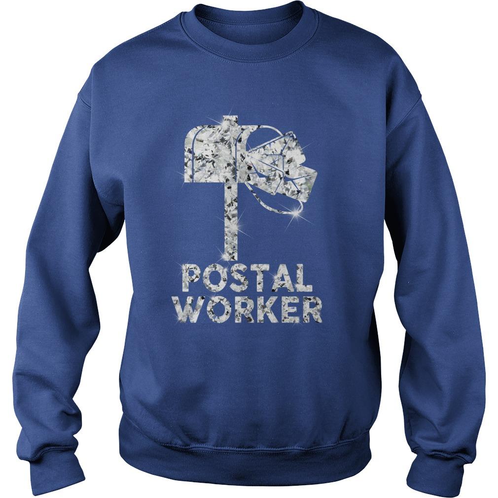 Postal worker diamond glitter shirt sweat shirt