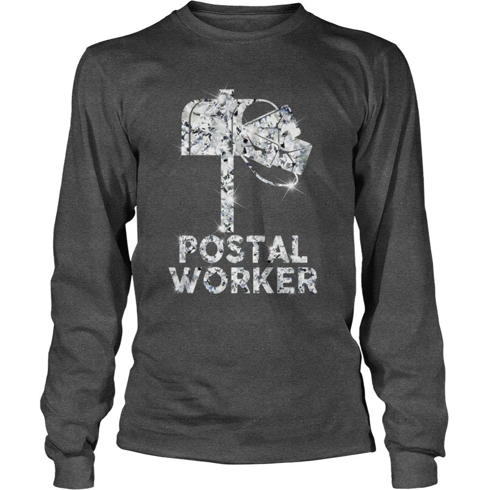 Postal worker diamond glitter shirt unisex longsleeve tee