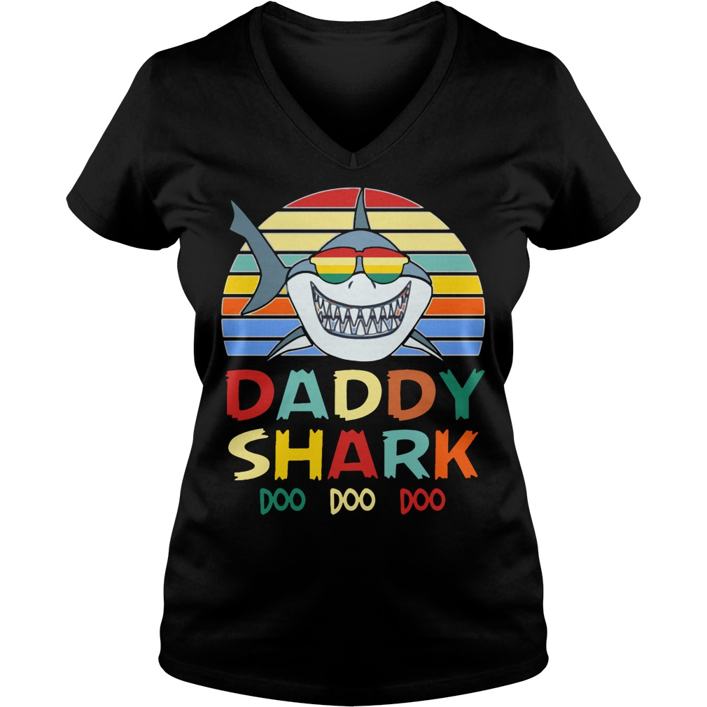 Retro Vintage Daddy Shark Doo Doo Doo shirt lady v-neck