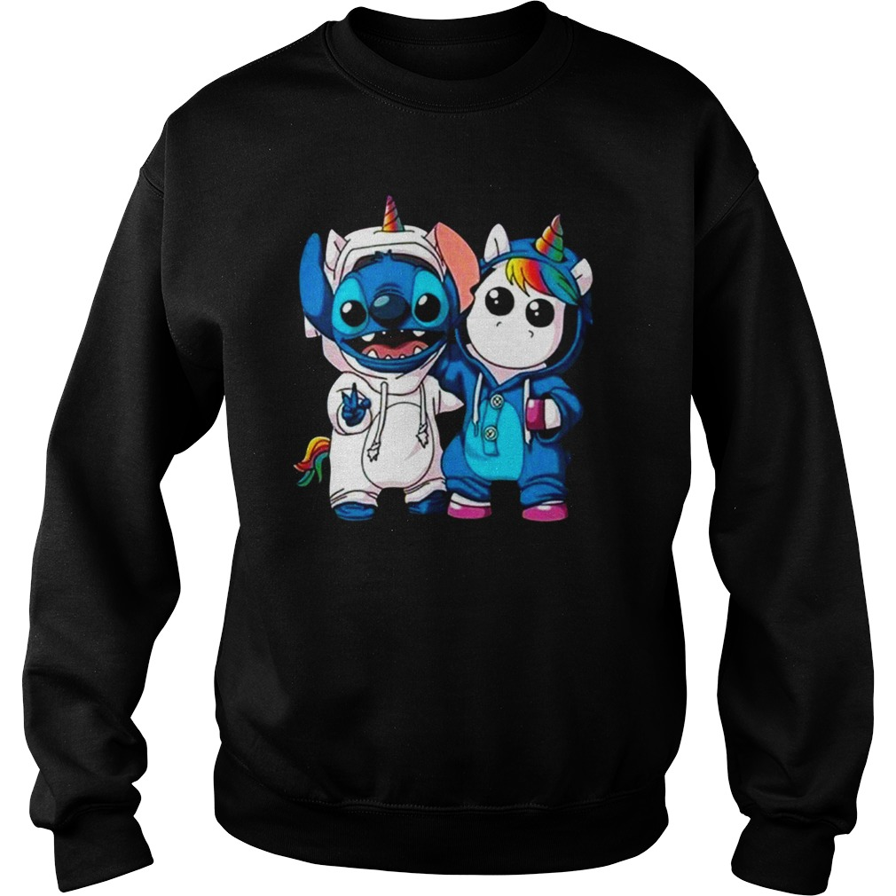 Stitch and baby unicorn shirt sweat shirt