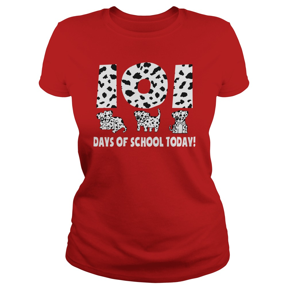 101 Days Of School Today Dalmatian Paw Black Shirt lady tee