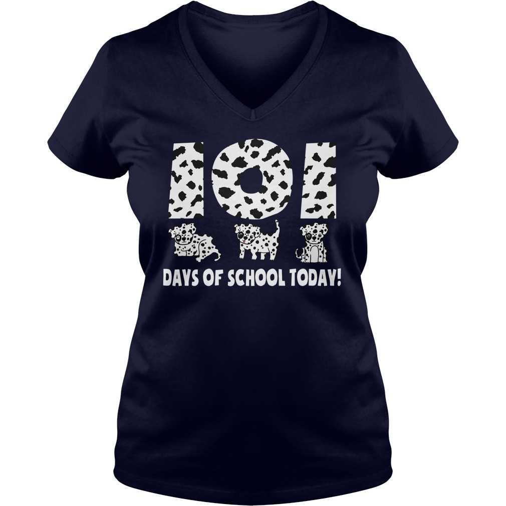 101 Days Of School Today Dalmatian Paw Black Shirt lady v-neck