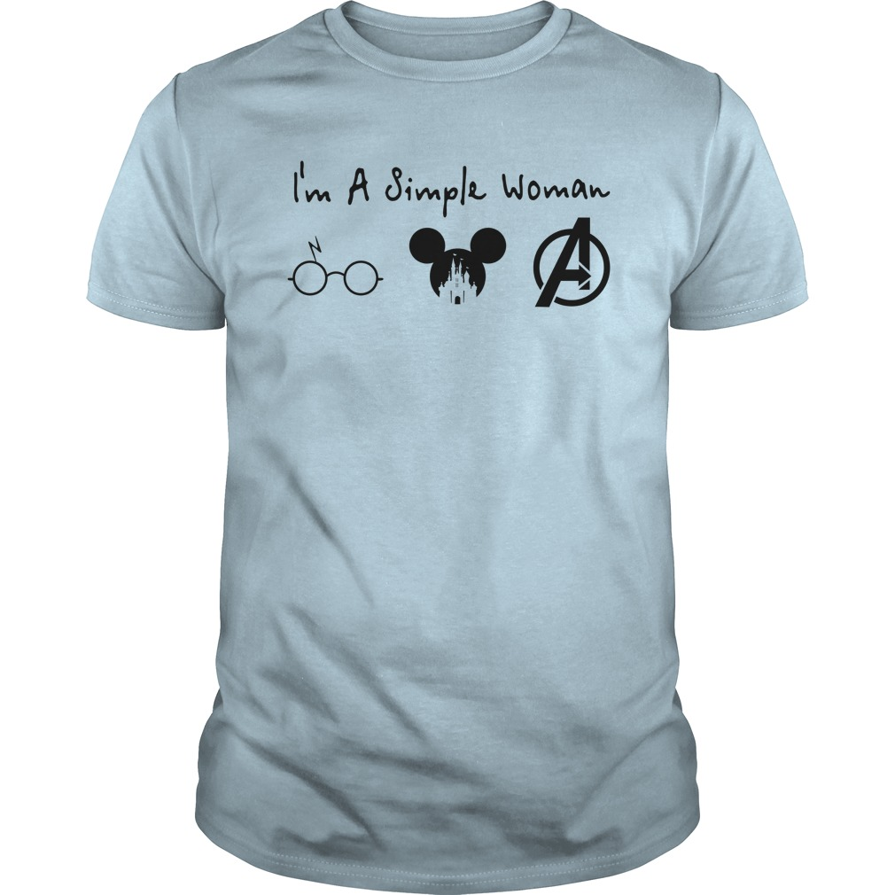 A simple woman who love Harry Potter Mickey Disney and Avengers shirt guy tee