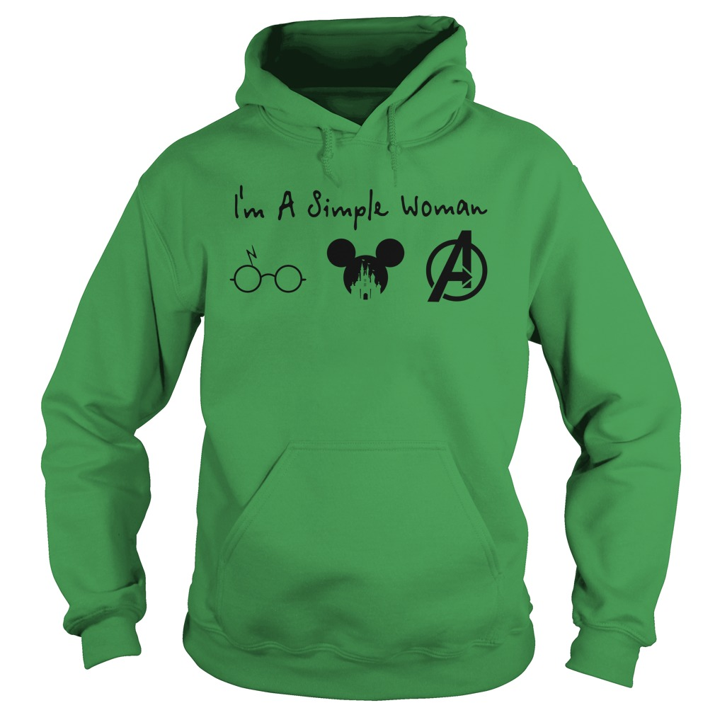 A simple woman who love Harry Potter Mickey Disney and Avengers shirt hoodie