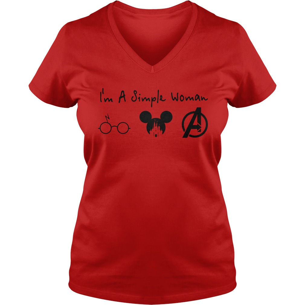 A simple woman who love Harry Potter Mickey Disney and Avengers shirt lady v-neck