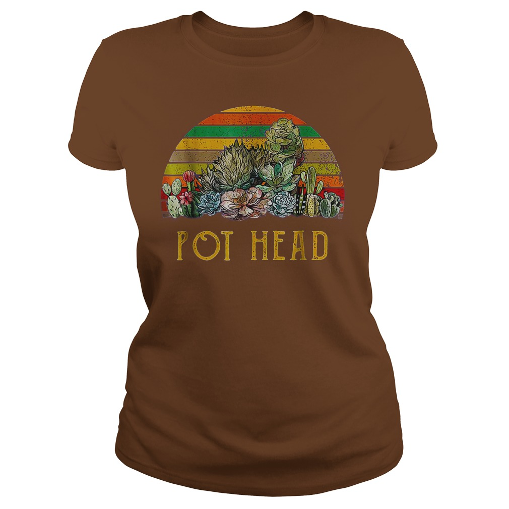Pot Headstone Flowers Vintage Retro Sunset shirt lady tee