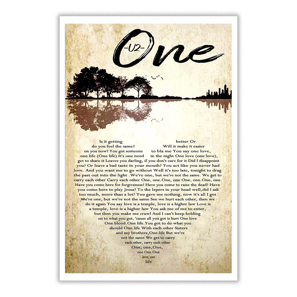 U2 – one lyrics typography heart poster