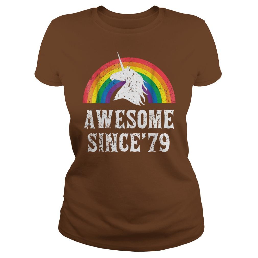 Unicorn 40th Birthday Gift Rainbow 1979 40 Years Old shirt lady tee