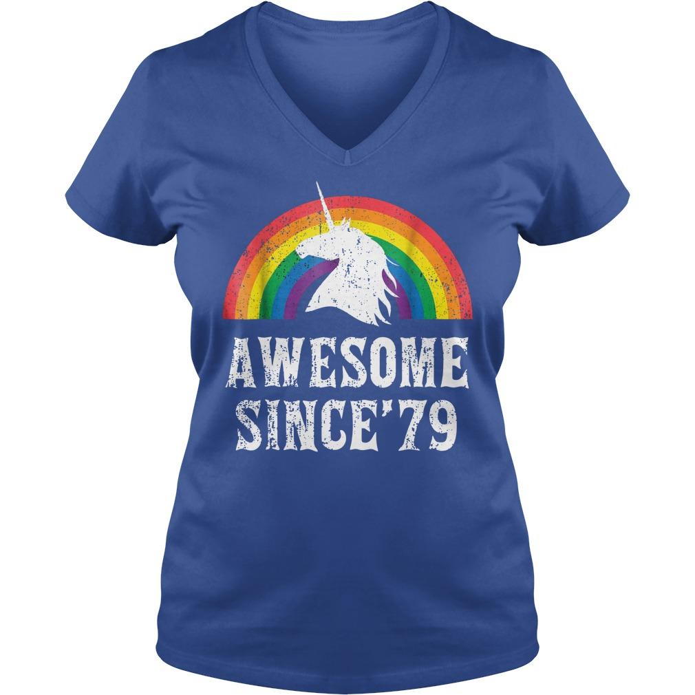 Unicorn 40th Birthday Gift Rainbow 1979 40 Years Old shirt lady v-neck
