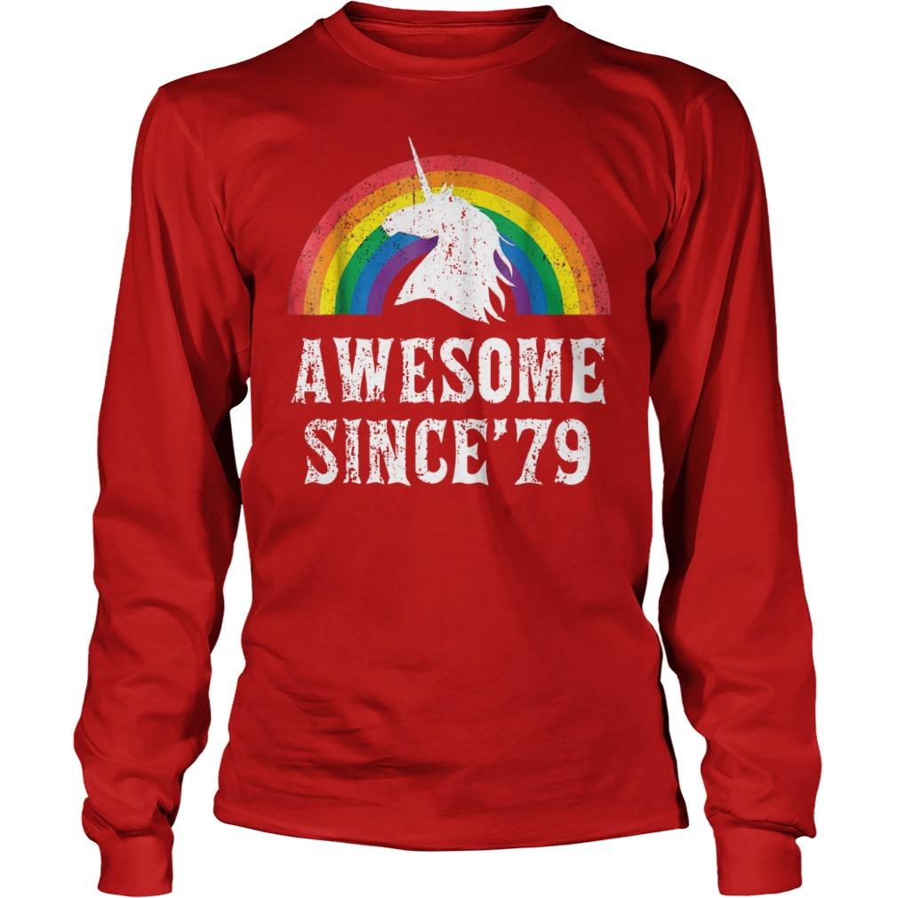 Unicorn 40th Birthday Gift Rainbow 1979 40 Years Old shirt unisex longsleeve tee