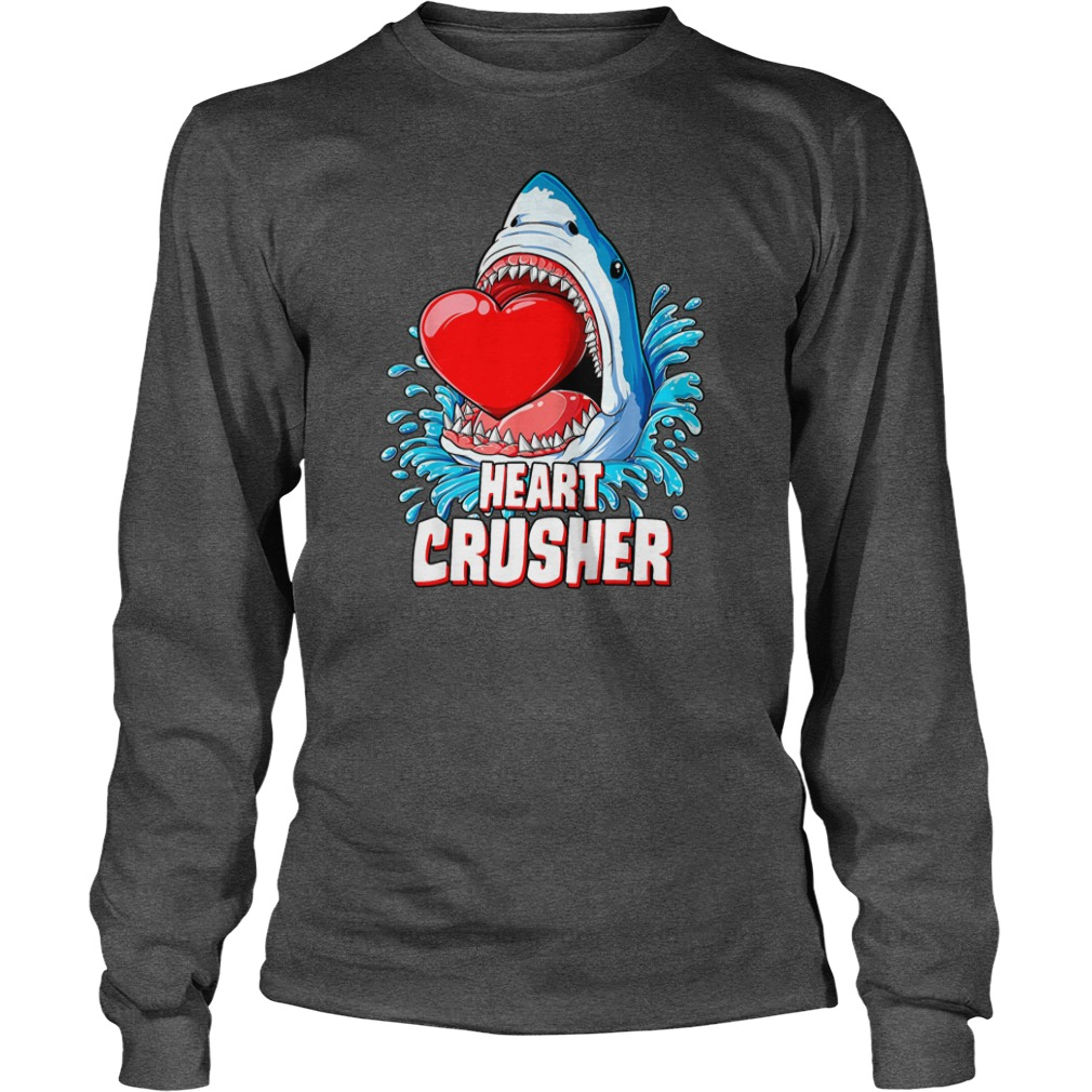 Heart Crusher Shark Valentines Day shirt unisex longsleeve tee