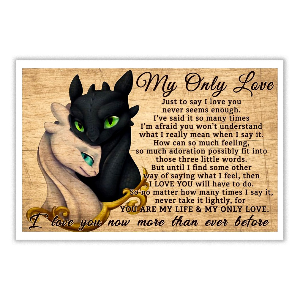 Toothless and girlfriend My only love poem typography poster