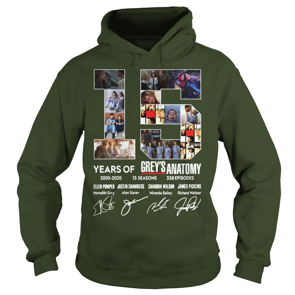 15 years of Grey's Anatomy thank you for the memories shirt hoodie