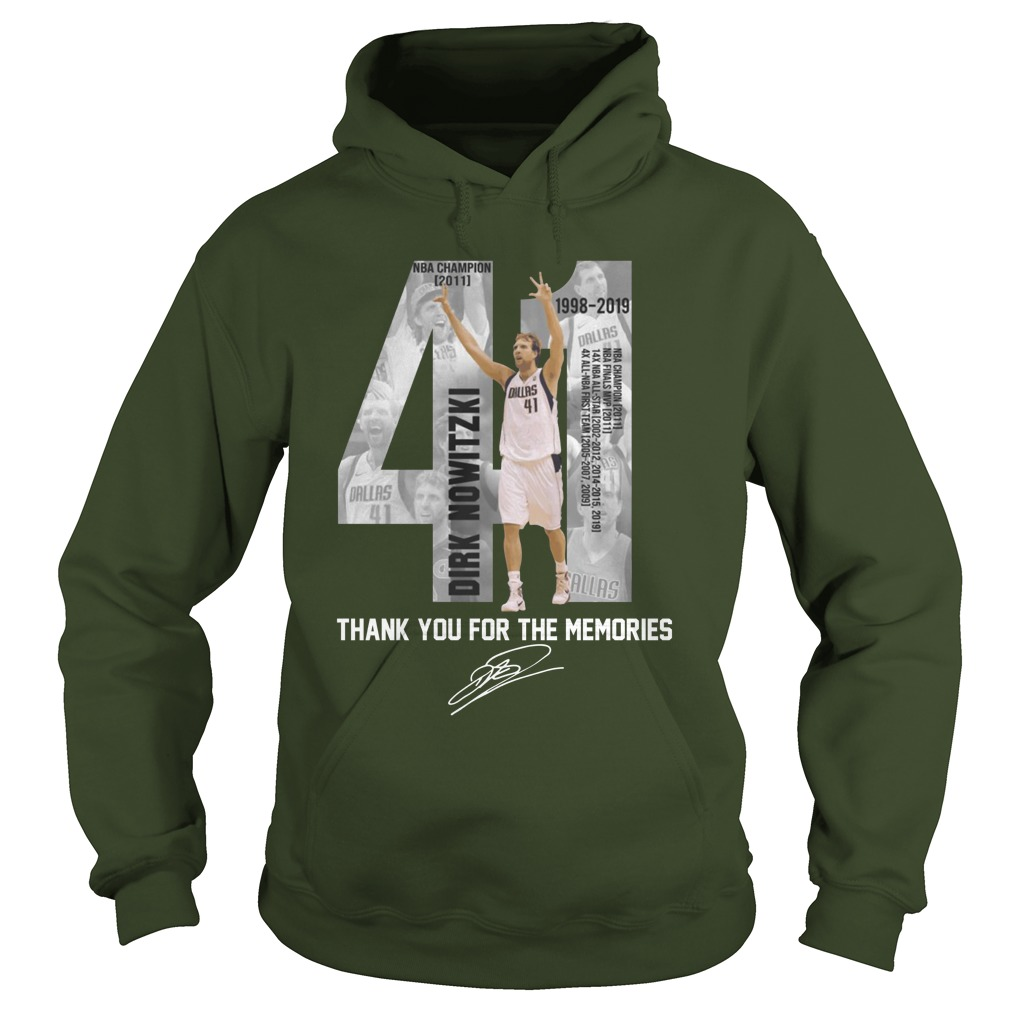 41 Dirk Nowitzki Thank you for the memories signature shirt hoodie
