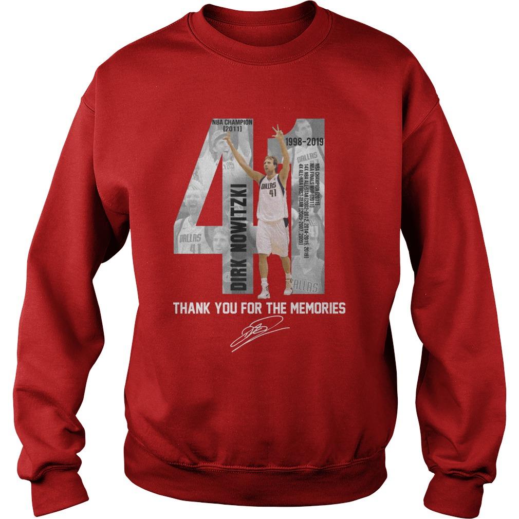 41 Dirk Nowitzki Thank you for the memories signature shirt sweat shirt