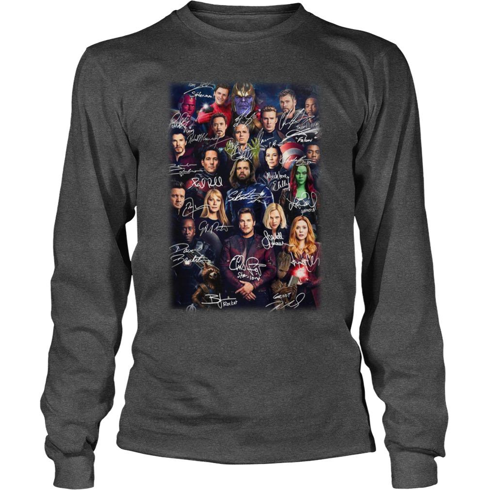 All marvel avengers Endgame heroes signatures shirt unisex longsleeve tee