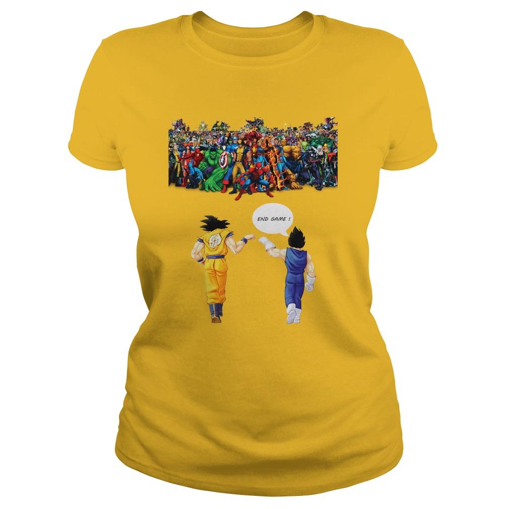 Goku and Vegeta Endgame Marvel Superheroes shirt lady tee