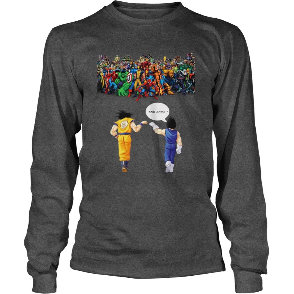 Goku and Vegeta Endgame Marvel Superheroes shirt unisex longsleeve tee