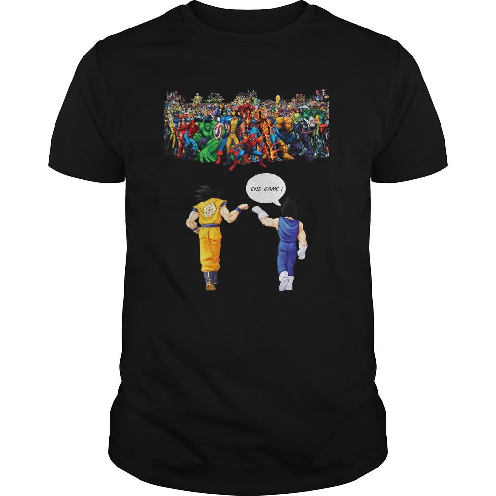 Goku and Vegeta Endgame Marvel Superheroes shirt unisex tee