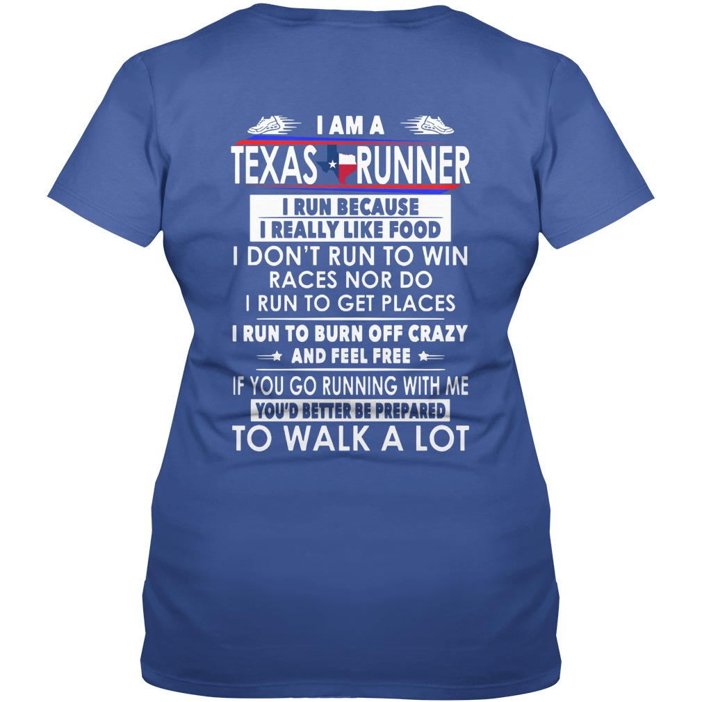I am a Texas runner i run because i really like food leggings and t-shirt lady v-neck