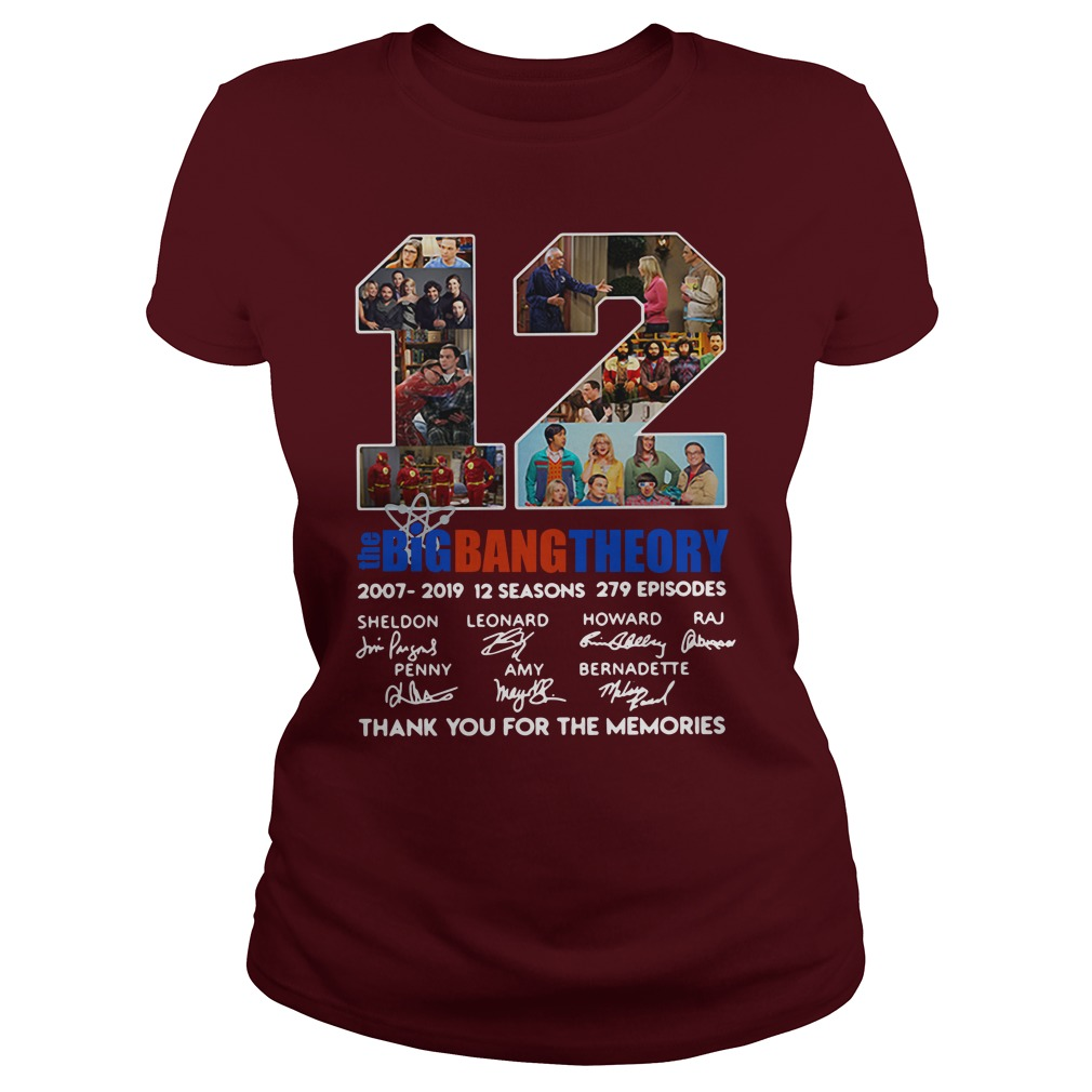 12 years the Big Bang Theory thank you for the memories shirt lady tee