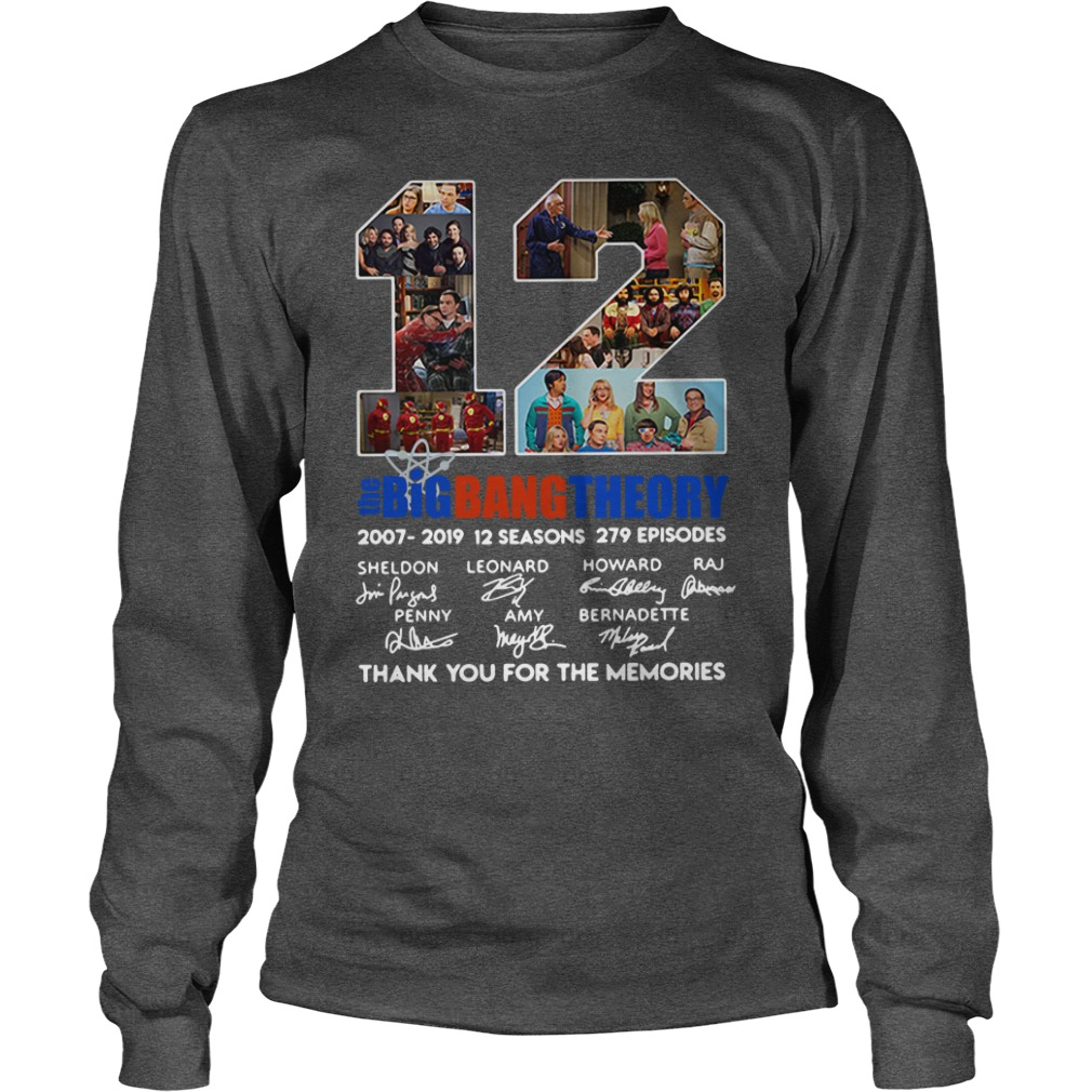 12 years the Big Bang Theory thank you for the memories shirt unisex longsleeve tee