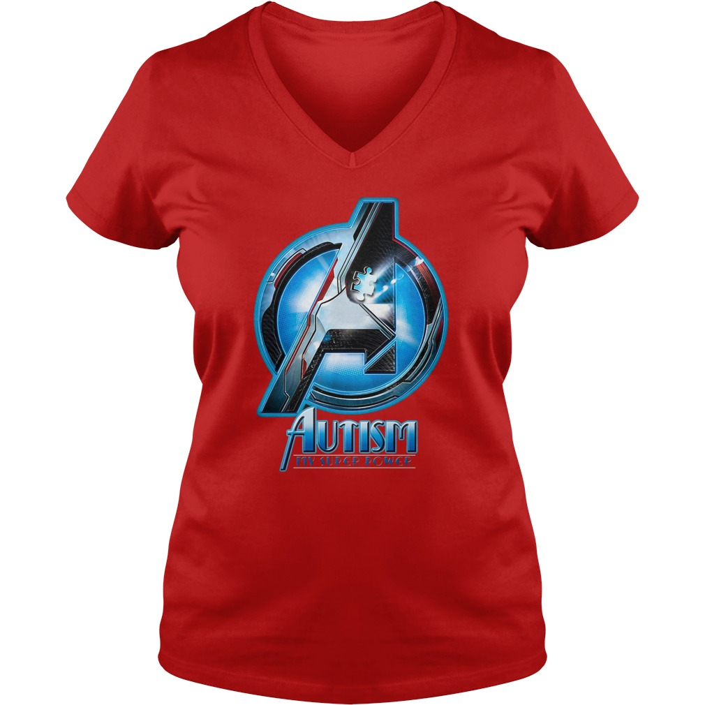 Avengers Autism awareness My superpower shirt lady v-neck