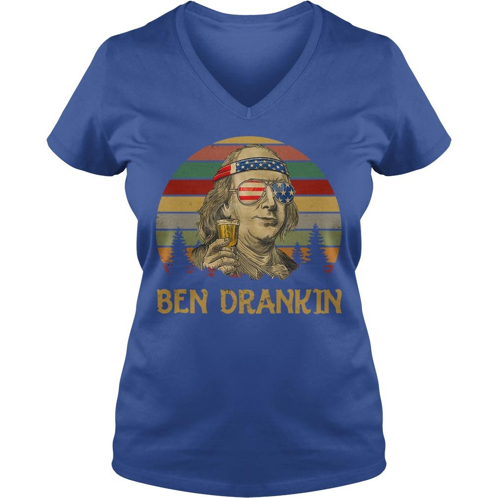 Ben Drankin 4th Of July Benjamin Franklin Vintage Shirt lady v-neck