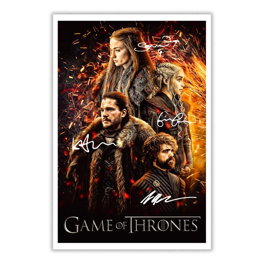 Game of Thrones Daenerys Targaryen Jon Snow Tyrion Lannister signatures poster