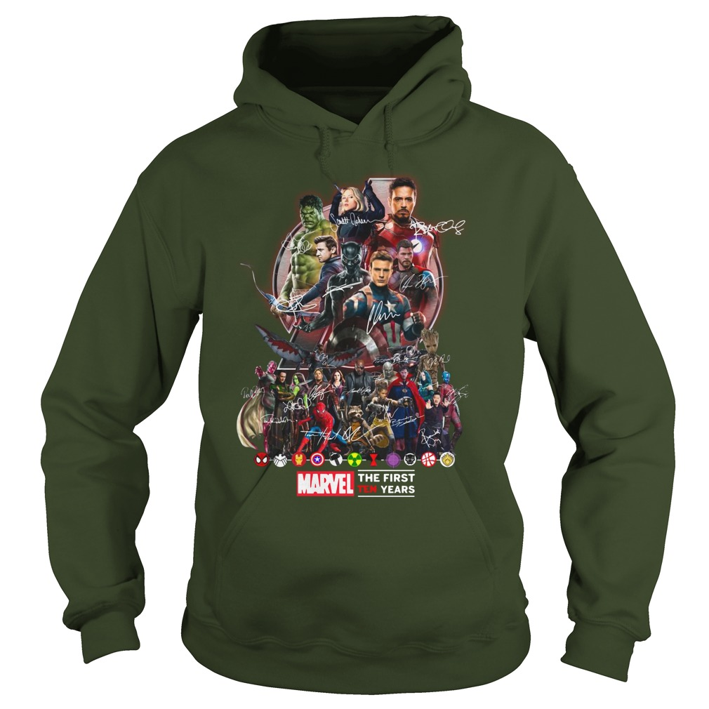 Marvel Avengers The first ten years shirt hoodie