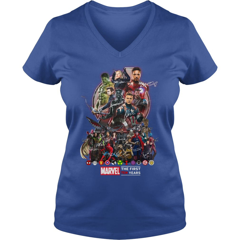 Marvel Avengers The first ten years shirt lady v-neck