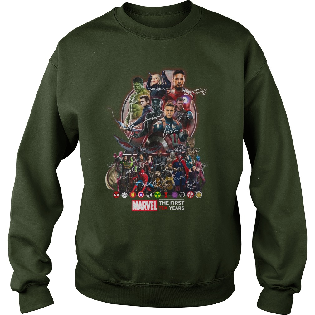 Marvel Avengers The first ten years shirt sweat shirt