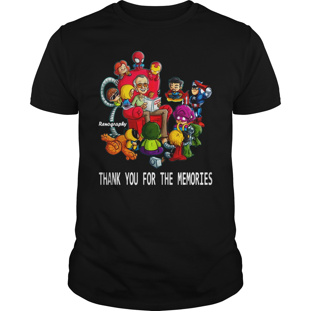 Stan Lee and superhero renography thank you for the memories shirt unisex tee