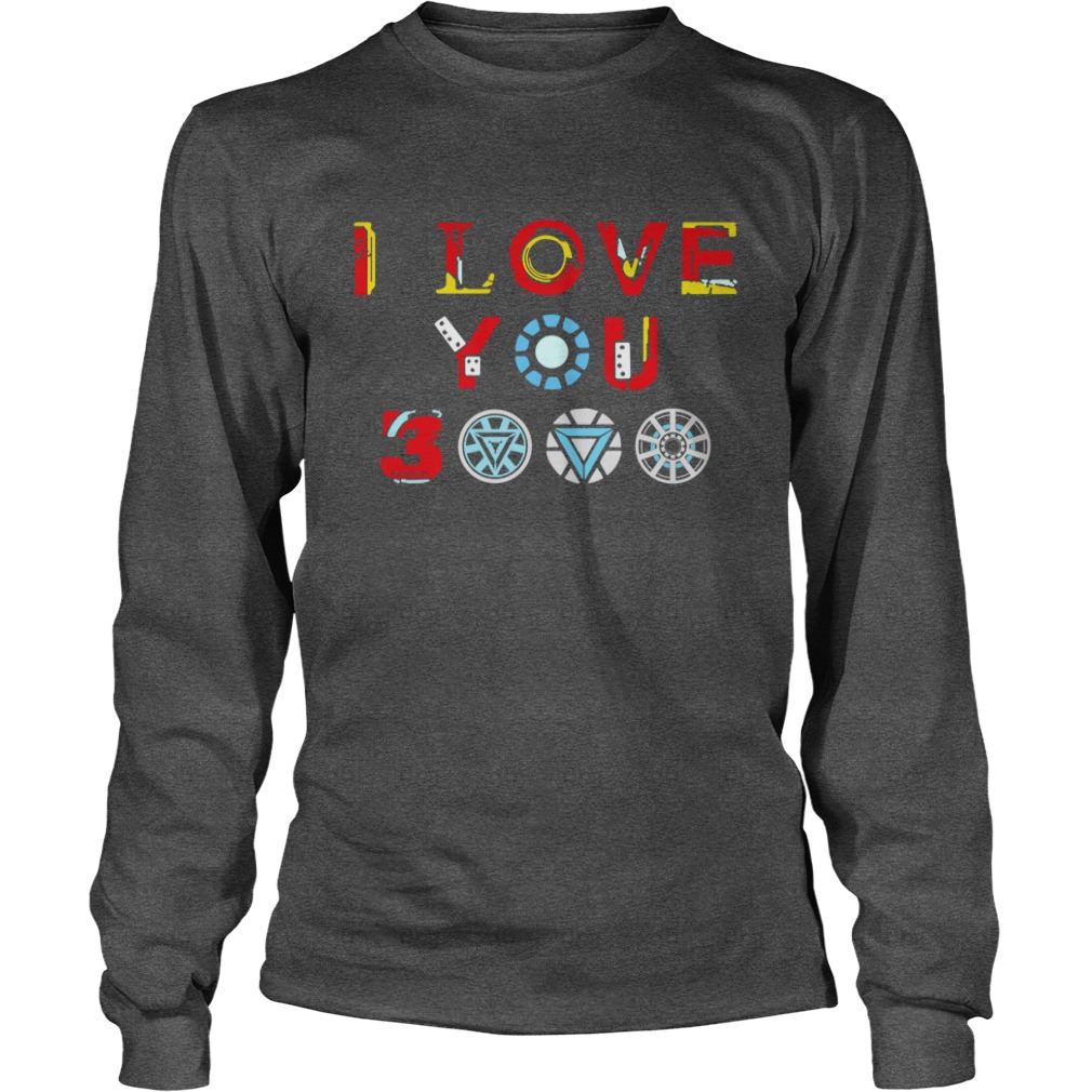 Tony Stark Iron Man I Love You 3000 shirt unisex longsleeve tee