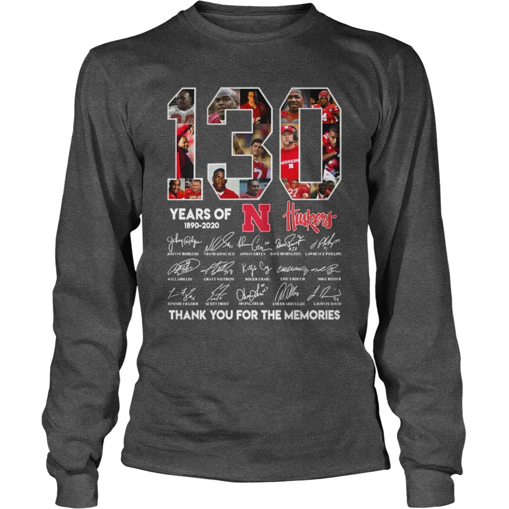 130 years of Nebraska Cornhuskers football signatures shirt unisex longsleeve tee