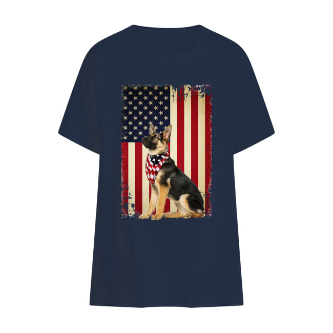German shepherd America flag shirt kids t-shirt