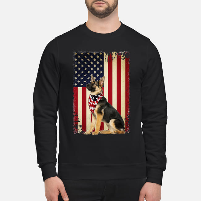 German shepherd America flag shirt unisex sweatshirt