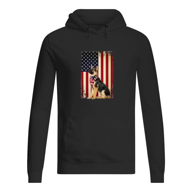 German shepherd America flag shirt women's hoodie