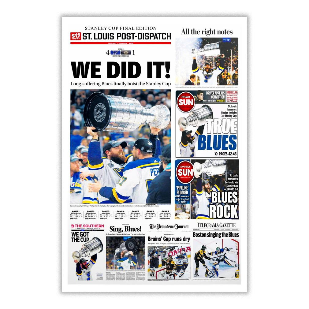 St. Louis Blues Stanley cup finals 2019 We did it newspaper poster
