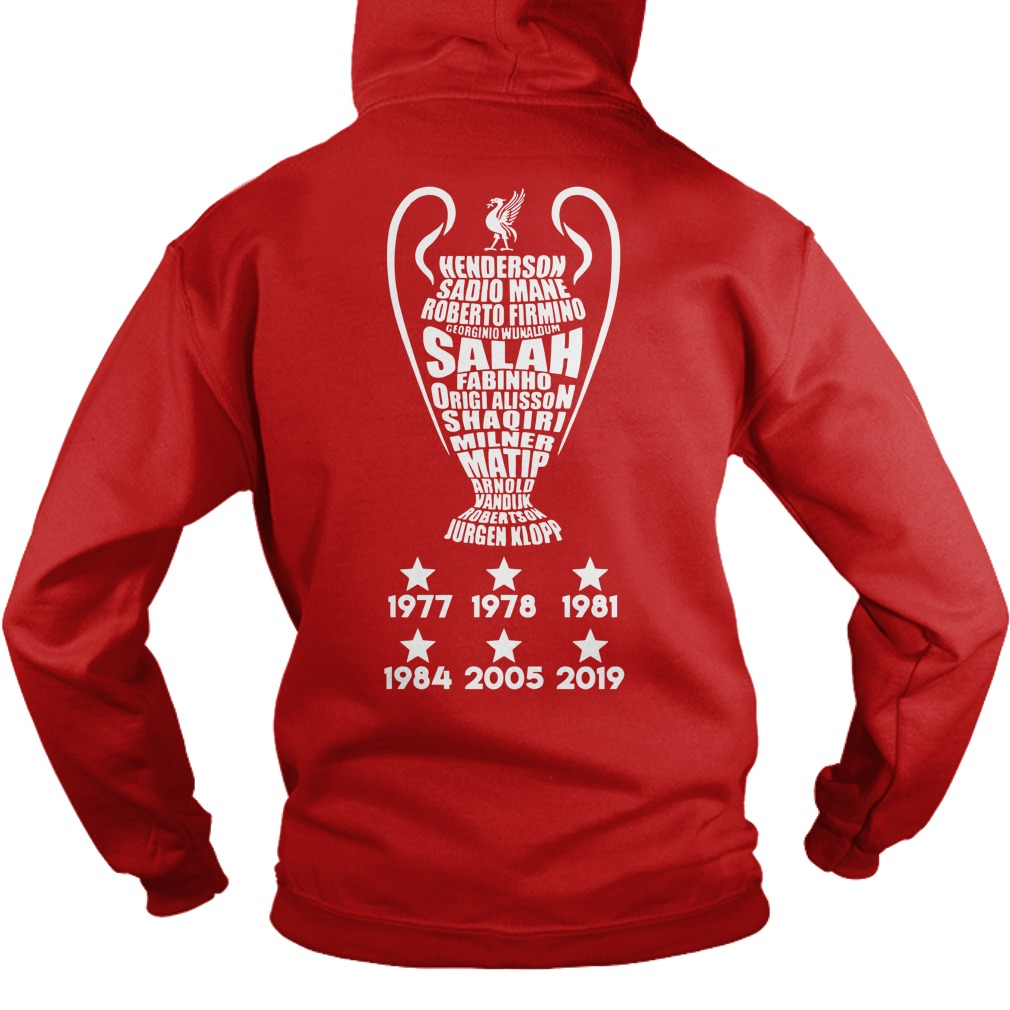 UEFA Champions League cup Liverpool player name typography shirt hoodie