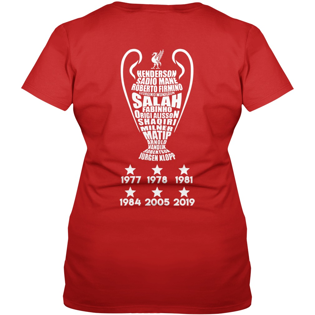 UEFA Champions League cup Liverpool player name typography shirt lady v-neck