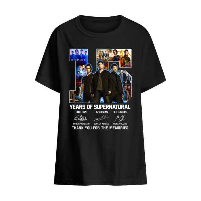 15 years of supernatural Thank you for the memories signature shirt kids t-shirt