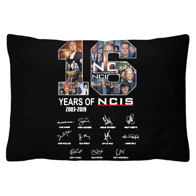 16 Years of NCIS 2003-2019 signature shirt cushion (rectangular)
