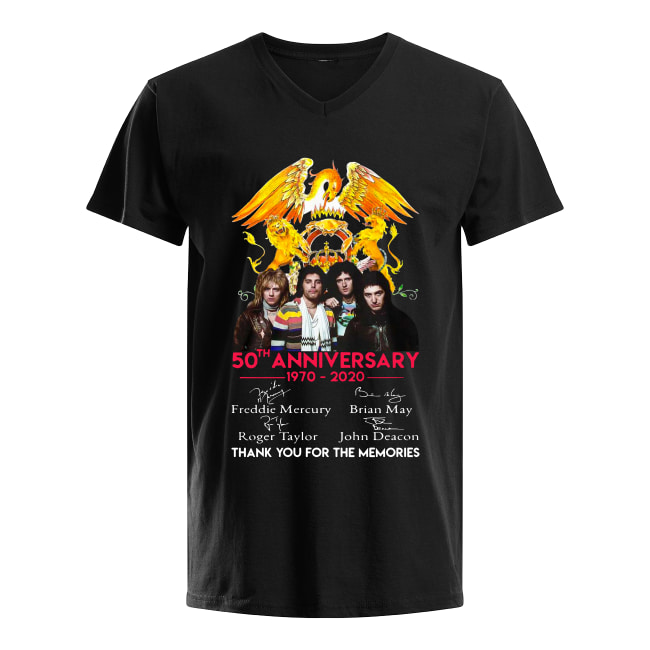 50th anniversary 1970-2020 Thank you for the memories Queen Signatures Version shirt men's v-neck t-shirt