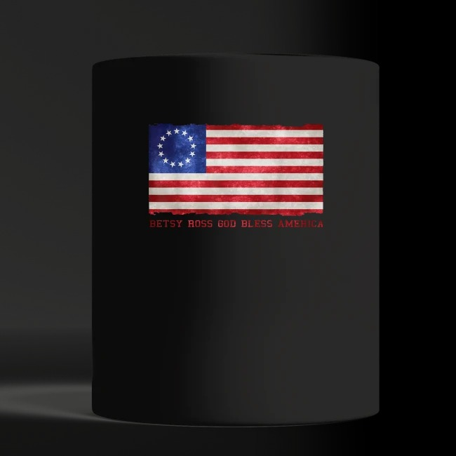 Betsy ross god bless America shirt black mug