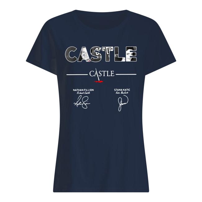 Castle Nathan Fillion Stana Katic signatures shirt classic women's t-shirt